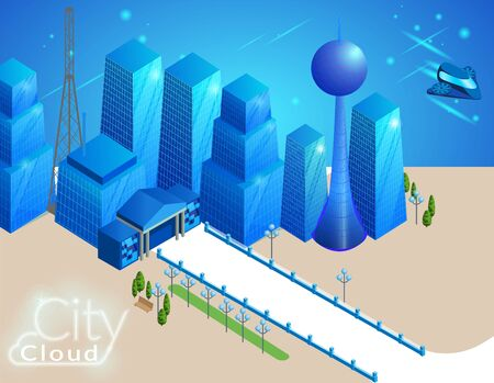 Urban Landscape with Buildings, Skyscrapers and Flying Transport. Concept of Smart City with Different Real Estate Objects. Modern Town Street, Urban Road Architecture 3D Isometric Vector Illustration