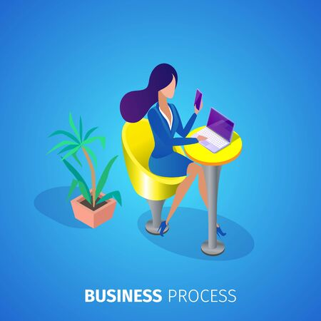 Business Process Square Banner. Young Office Woman in Elegant Formal Suit Sitting at Table with Smartphone in Hands and Working on Laptop on Blue Gradient Background. 3D Isometric Vector Illustration Ilustracja