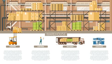 Warehouse Packing and Supply Maintenance Banner. Infographic Picture of Industrial Factory Storage Element. Control Logistic, Weight Delivery, Professional Service. Flat Cartoon Vector Illustration  イラスト・ベクター素材