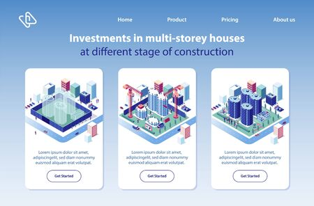 Multi-storey Houses Construction Investment Project Isometric Vector Vertical Web Banners Set. City Apartment and Condominium Complex Advertising Banners. Real Estate Company Landing Pages Collection Ilustração