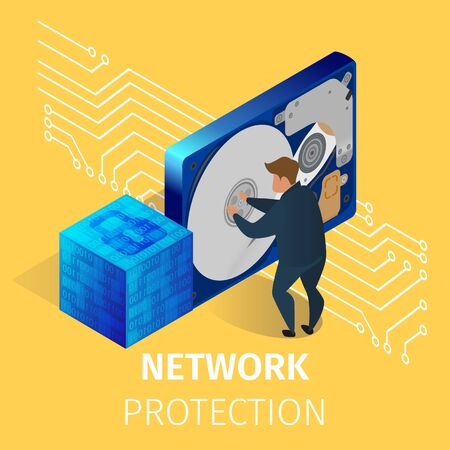 Protection of Computer Hardware in Network Server Room with Staff. Programmer in Security Center Database Server Engaging of Internet Defense. 3D Isometric Cartoon Vector Illustration, Square Banner Ilustracja