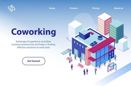 Commercial Real Estate Object Isometric Vector Web Banner or Landing Page Template with Business People Walking near Modern Coworking Center, Company Office Building in City Downtown Illustration