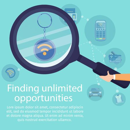 Finding Unlimited Opportunities with NFC Technology Flat Vector Banner. Near Field Communication Services Promo Poster Template. Human Hand Holding Magnifying Glass, Magnifying NFC Tag Illustration Ilustracja