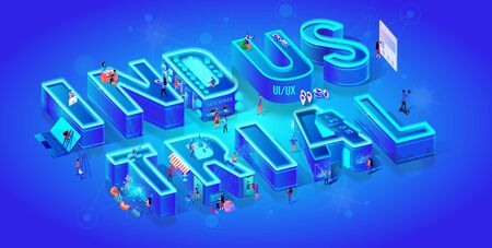 Vector 3d Neon Isometric Word Industrial on Blue Gradient Background with Neural Network. People Use Smart Technology in Life, Data Server, Cyberspace, Online Paying. Futuristic Idea. Neon City. Illustration