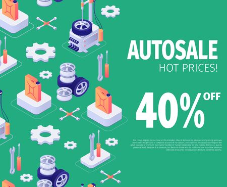 Banner for Autosale Special Discount Offer with Isometric Icons Elements. Vector 3d Illustration with Lettering 40 Percent off Hot Price on Color Backdrop, Auto Tools Design and Place for Text
