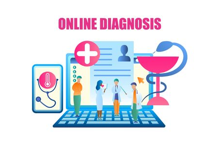 Vector Group Doctor Discussing Patient Treatment. Banner Man and Woman Medical Professional Standing Laptop, Communicating Patient. Online Diagnosis Medical Disease. Use Gadget in Healthcare System Illustration