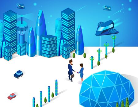 Male and Female Business People Characters Shaking Hands on Roadside of Modern City with Sphere Dome, Futuristic Glass Buildings, Cars and Spaceships Transport 3D Isometric Cartoon Vector Illustration