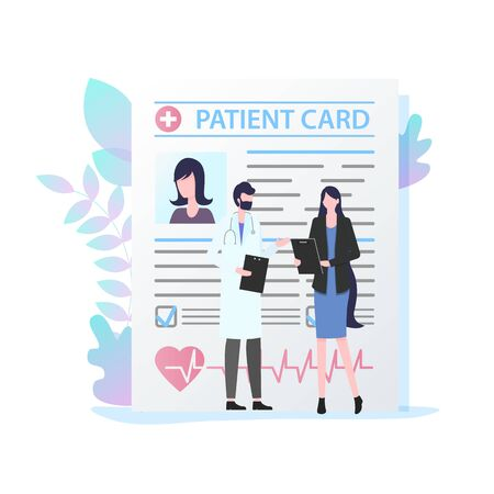 Male Doctor with Stethoscope Female Patient Card Vector Illustration. Man Medical Specialist Consultation Woman Appointment Medication Prescription Record Health Care Insurance Treatment