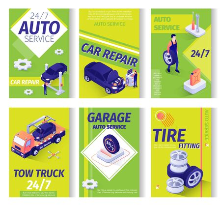 Car Service Advertisement Isometric Set. Repair Station, Maintenance Garage or Online Workshop Offers. Tow Truck Assistance, Tire Fitting, All-Day Auto Servicing. Working Staff. Vector 3d Illustration Çizim