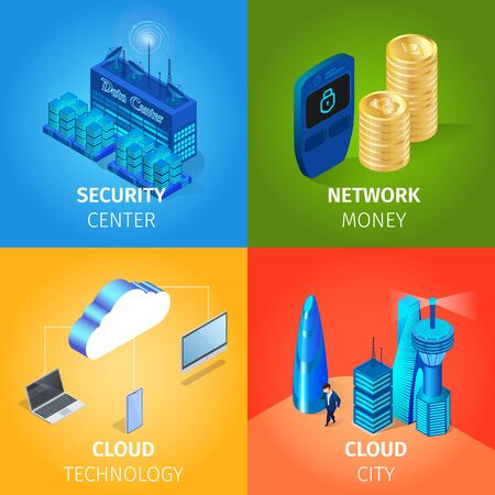 Security Center, Network Money, Cloud City, Technology Square Banners Set on Colorful Gradient Background. Cryptocurrency, Buildings, Storage, Internet Data Protection 3D Isometric Vector Illustration