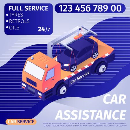 Car Assistance Advertisement Banner with Editable Text and Contact Information. Tow Truck Transports Crashed or Wrecked Car to Repair Service. Vector 3d Isometric Illustration with Gradient Design