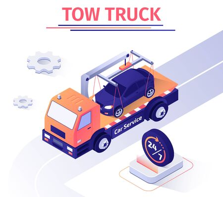 Banner Advertises Car Road Assistance Evacuator Service. Tow Truck for Transportation Faulty Automobile to Repair Station. Evacuation Work 24 Hours 7 Days Week. Isometric Vector 3d Illustration
