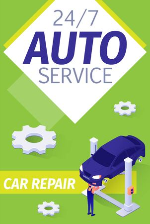 Modern Presentation Poster for Fulltime Auto Service. Card with Isometric Sedan and Technician Working, Checking, Repairing Transmission, Suspension or Car Chassis. Vector 3d Illustration