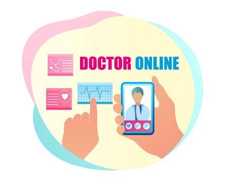 Vector Communication Doctor Online Consultation. Banner Illustration Hand Holding Mobile Phone, on Smartphone Screen Doctor Examining Cardiovascular Indicators Examination. Heart Radiogram Ilustracja
