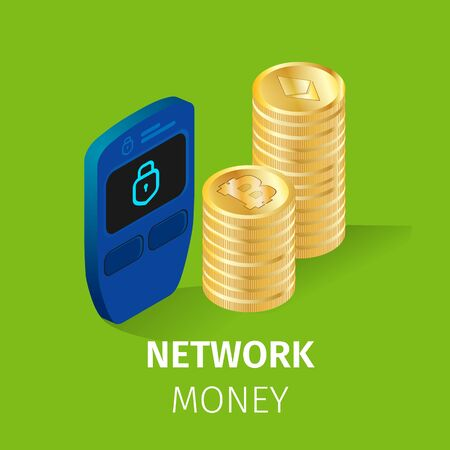 Network Money Square Banner. Pile of Golden Bitcoin and Etherium Coins Stand near Electrical Lock on Green Background. Online Trading, Cryptocurrency Finance Safety. 3D Isometric Vector Illustration.