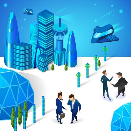 Businessmen Characters Communicating in Futuristic City with Modern Architecture, Glass Sphere Dome and Sparkling Buildings. Space Shuttles Flying at Sky. 3D Isometric Cartoon Vector Illustration.