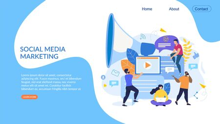 Informational Poster Social Media Marketing Flat. Creating Right Mood for Work. Men and Women Create Content for Customer against Background an Electronic Device and Loudspeaker. Vector Illustration.