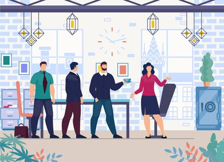 Successful Businesswoman, Female Company Leader Working in Office with Male Employees, Negotiating with Businessmen, Business Partners or Investors in Meeting Room Trendy Flat Vector Illustration Ilustracja