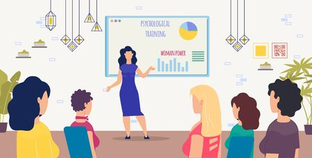 Psychological Training for Women Trendy Flat Vector Concept with Female Trainer, Psychology Expert, Feminism Activist Presenting Ideas, Conducting Lecture or Seminar for Female Audience Illustration Ilustracja