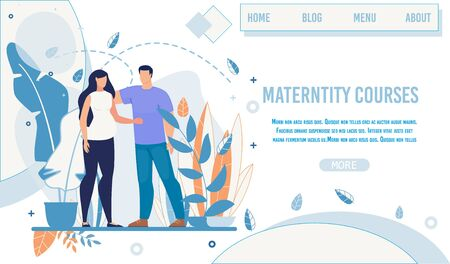 Flat Landing Page Offer Maternity Courses and Training for Future Mothers. Cartoon Woman in Baby Anticipation and Man Supportively Touching her Characters. Vector Illustration in Natural Design
