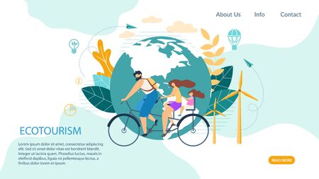 Bright Banner Inscription Ecotourism Cartoon. Traditional Tricks to Improve Situation in Office. Poster Man and Woman with Child Ride Tandem Bicycle on Background Round Planet. Vector Illustration. Ilustracja