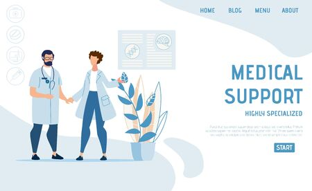 Flat Landing Page Highly Advertising Specialized Medical Support. Cartoon Nurse and Practitioner, Two Male and Female Doctors Clinic Staff Character. Online Medicine and Insurance. Vector Illustration