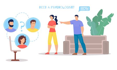 Family Relations Problems, Marriage Crisis and Psychological Help for Couples on Verge of Divorce Flat Vector Banner, Poster Template. Jealous Husband Blaming Wife in Marriage Betrayal Illustration Фото со стока - 130638661