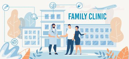 Family Clinic Presentation with Doctor Male Character in Uniform Meeting Married Couple. Cartoon Hospital Building. Healthcare, Treatment, Insurance, Examination, Vaccination. Vector Flat Illustration Illustration