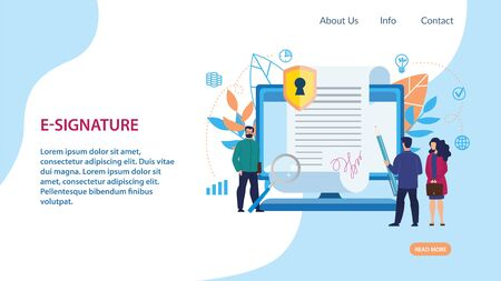Informational Poster is Written E-signature Flat. Banner Opportunity to Think in Silence. People Sign an Electronic Document on Screen Large Laptop. Vector Illustration Landing Page.