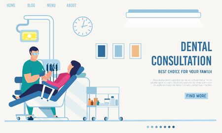 Landing Page Offering Dental Consultation Online. Orthodontist Appointment via Internet. Cartoon Woman Patient on Dentist Checkup. Telemedicine. Vector Room with Medical Equipment Illustration