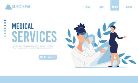 Landing Page Offering Medical Service for Pregnant Women. Doctor and Client in Family Way Having Dialogue and Examination. Online Maternity Consultation and Support. Vector Flat Cartoon Illustration