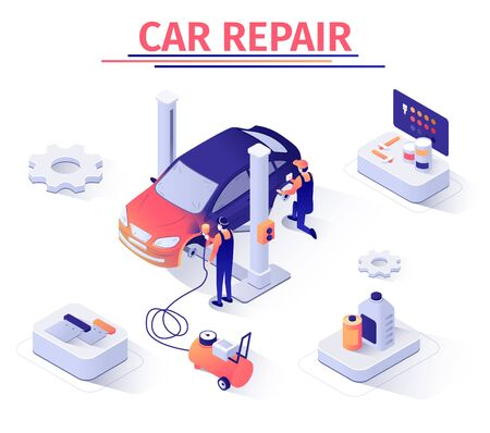 Advertising Isometric Banner Template with Car Painting and Polishing Service. Masters Work with Modern Equipment, Paint-Spraying Pistol. Automobile Tuning. Vector Isometric 3d Illustration