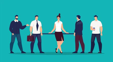 Lady Boss, Company Female Leader, Trendy Flat Vector Concept. Successful Businesswoman, Female Employee, Entrepreneur Character Standing Surrounded Businessmen, Male Office Colleagues Illustration