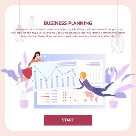 Business Planninga Analysis Tablet Website Banner. Team Character Develop Information Diagram. Online Plan Presentation Concept for Landing Website Page Flat Vector Illustration Ilustracja