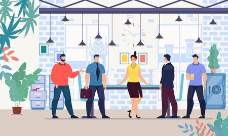 Female Boss, Company Leader, Successful Businesswoman Standing in Office Surrounded by Male Employees, Meeting with Colleagues, Negotiating with Business Partners Trendy Flat Vector Illustration Ilustracja