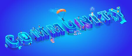 Isometric Projection of Word Community. Huge Letters on Ultramarine Neon Gradient Background. Little People Living Together in Smart High-Tech Neon City. 3d Vector illustration. Flat Characters. Ilustracja