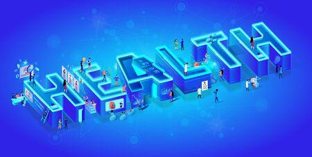 Vettore 3d isometrica al neon parola salute su sfondo blu sfumato con rete neurale. Le piccole persone usano la tecnologia medica intelligente nella vita, assumendo risorse umane, robot e cyborg nella realtà umana. Vettoriali