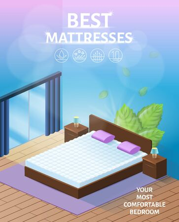 Best Best Orthopedic Mattress for Healthy Sleeping Isometric Vector Advertising Banner or Flyer with New, Breathable and Clean Double Mattress on Comfortable Bed in Cozy Bedroom Interior Illustration  イラスト・ベクター素材