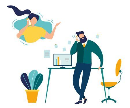 Appel téléphonique du Concept de vecteur plat de bureau. Homme d'affaires parlant avec une femme au téléphone, employé appelant sa femme pendant la pause au bureau, chef d'entreprise faisant appel à l'illustration du client. Service client
