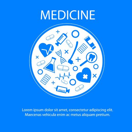 Medicine Banner with Medical Science Symbol Vector Illustration. Health Care Pharmacy Medication Research Innovation Technology Dental Equipment Stomatology Treatment Hospital Clinic Information