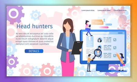 Head Hunter, Employment, Personnel Recruitment Agency Flat Vector Web Banner or Landing Page Template. Hr Manager Reading Job Applicants Resume, People Searching Job Opportunities Online Illustration Stock Illustratie