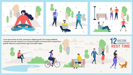 City Citizen Outdoor Recreation and Rest Trendy Vector Banner or Poster Template with People Networking, Walking with Pet, Meeting with Friends and Colleagues, Fishing, Meditating in Park Illustration