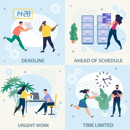 Advertising Flyer Set Urgent Work Deadline Flat. Banner Inscription Ahead Schedule, Time Limited. Key to Working with People. Woman Carries Folders to Paper Drawer. Vector Illustration.  イラスト・ベクター素材