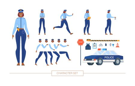 African-American Policewoman in Uniform Character Constructor Isolated, Trendy Flat Design Elements Set. Female Police Officer Body Parts, Emotions, Patrol Car, Road Signs, Ammunition Illustrations