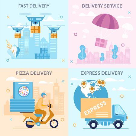 Stellen Sie helle Flyer-Aufschrift schnelle Lieferung-Karikatur ein. Banner schriftlicher Pizza-, Express- und Lieferservice. Poster Essen im Büro bestellen. Lieferung in der Stadt mit verschiedenen Transportmitteln. Vektor-Illustration.