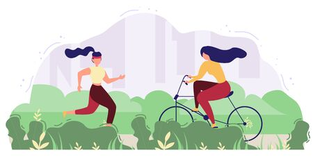 Modern people outdoor activity flat vector concept. Women riding bicycle and running in park or square illustration. Doing fitness exercises outside, leading healthy lifestyle, summer leisure and fun