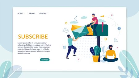 Advertising Flyer Inscription Subscription Flat. Banner Guy is Sitting on Huge Mailbox. Man Puts Letter in Correspondence Box, Next to him is Nerd With Laptop. Vector Illustration.