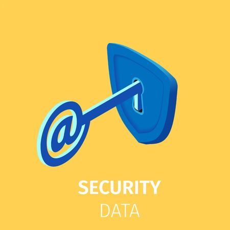 Online Internet Security. Key with AT Sign in Lock with Keyhole. Personal Data Security, Cyber Data Protection, Information Privacy. Internet Technology 3D Isometric Vector Illustration, Square Banner Vectores