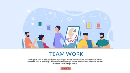 Informational Banner Teamwork Lettering Flat. Interactive Coworking Panel. Men and Women Discuss Sitting in Presentation Room. Woman Stands Next to Chart Cartoon. Vector Illustration.