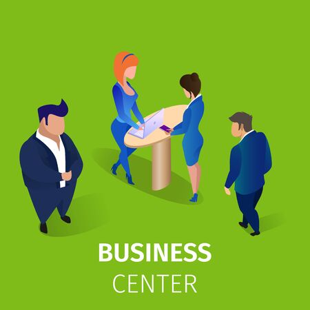 Office Business People Male and Female Characters in Elegant Formal Dressing Visiting Business Center, Communicating and Working on Computer. 3D Isometric Cartoon Vector Illustration, Square Banner. 版權商用圖片 - 133588393